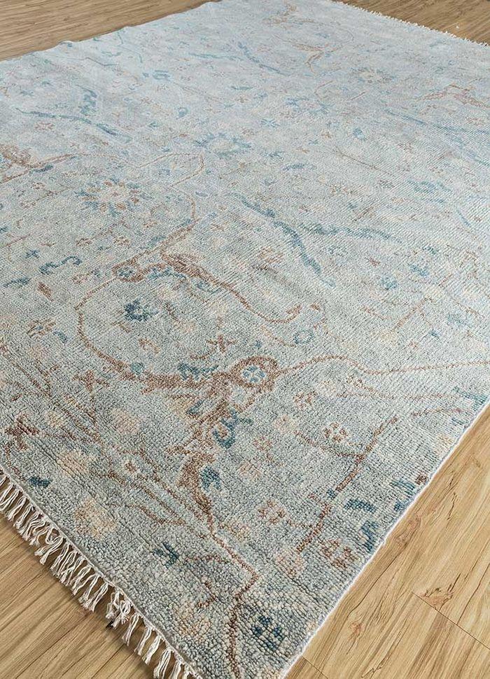 eden blue wool hand knotted Rug - FloorShot