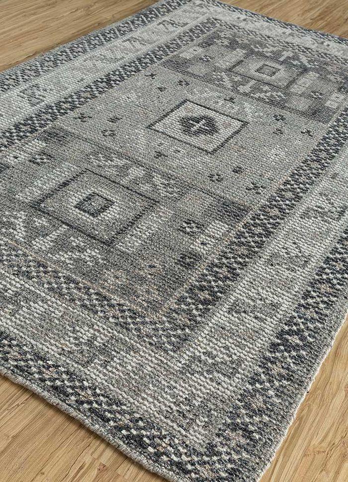 revolution grey and black wool hand knotted Rug - FloorShot