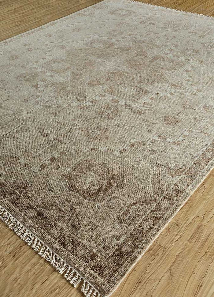 liberty beige and brown wool hand knotted Rug - FloorShot