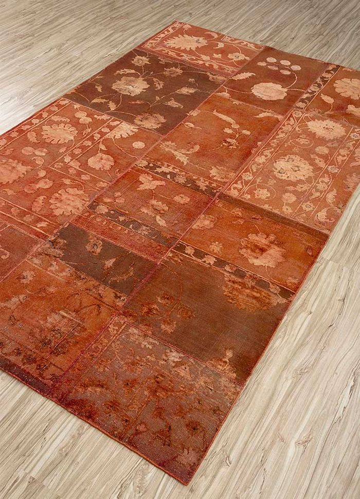 aprezo red and orange wool and silk patchwork Rug - FloorShot
