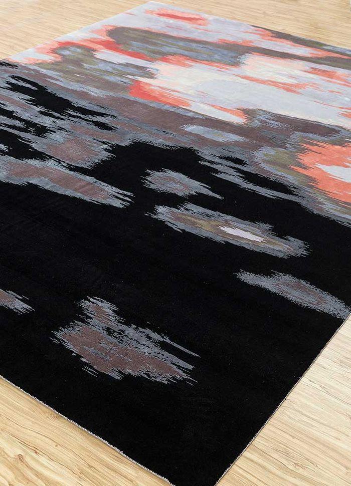 kibrast grey and black wool and silk hand knotted Rug - FloorShot