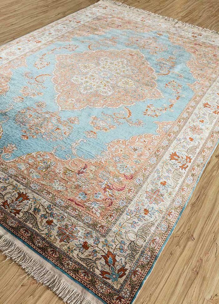antique blue silk hand knotted Rug - FloorShot