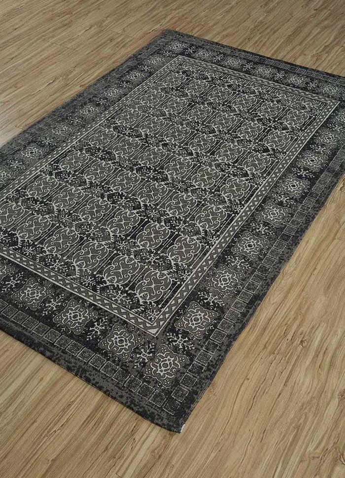 heritage grey and black cotton flat weaves Rug - FloorShot