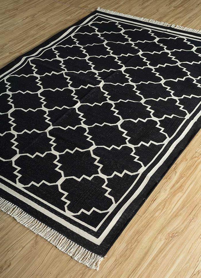 indusbar grey and black cotton flat weaves Rug - FloorShot