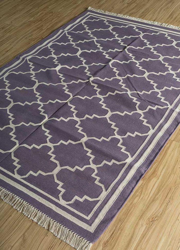 indusbar pink and purple cotton flat weaves Rug - FloorShot