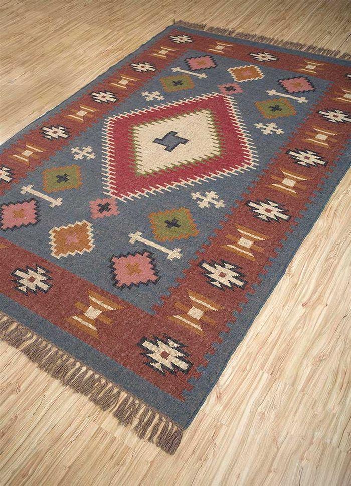 bedouin blue jute and hemp flat weaves Rug - FloorShot