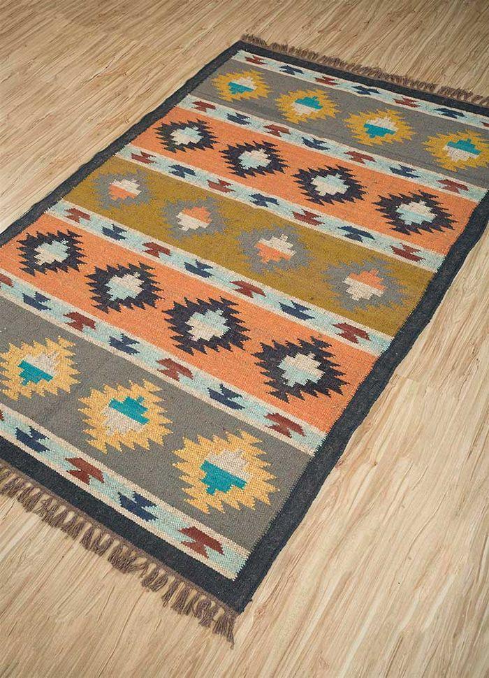 bedouin grey and black jute and hemp flat weaves Rug - FloorShot
