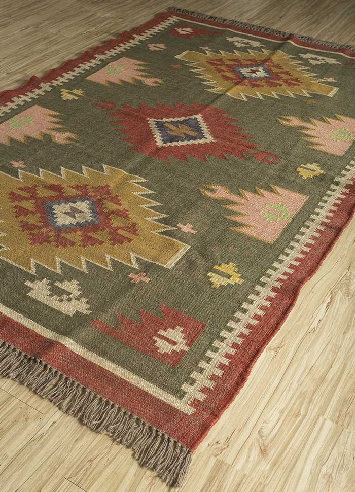 bedouin green jute and hemp flat weaves Rug - FloorShot