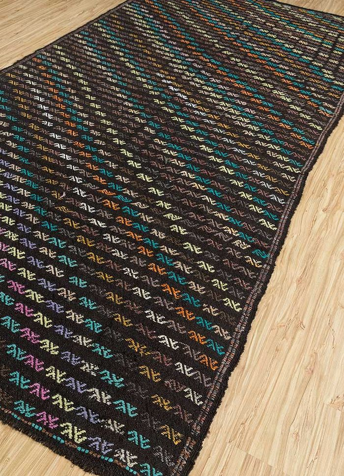 kilim grey and black wool hand knotted Rug - FloorShot