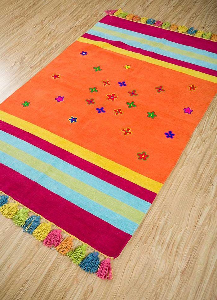aqua red and orange others flat weaves Rug - FloorShot