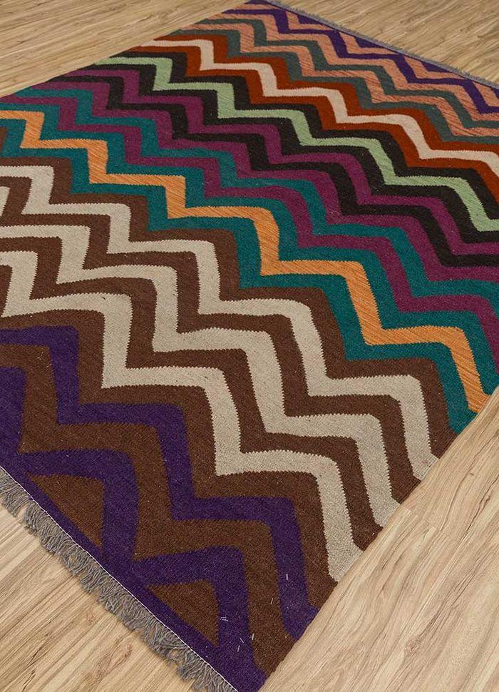 aqua pink and purple wool flat weaves Rug - FloorShot