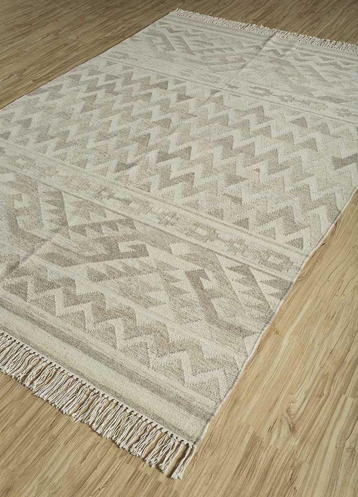 bedouin beige and brown wool flat weaves Rug - FloorShot