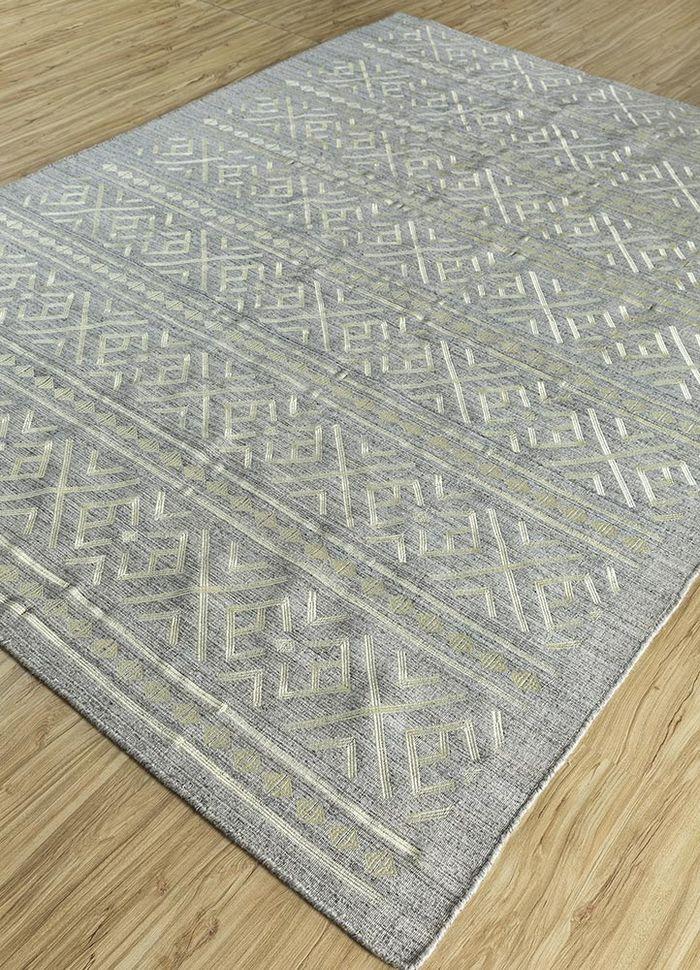souk beige and brown wool and viscose flat weaves Rug - FloorShot