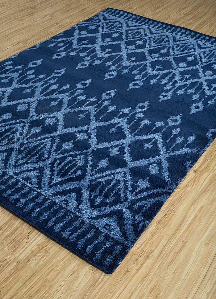 mezcla blue viscose hand knotted Rug - FloorShot