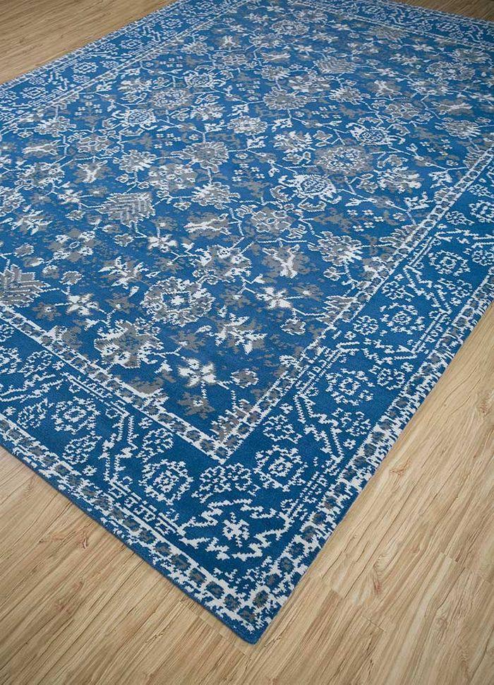 atlantis blue wool hand knotted Rug - FloorShot