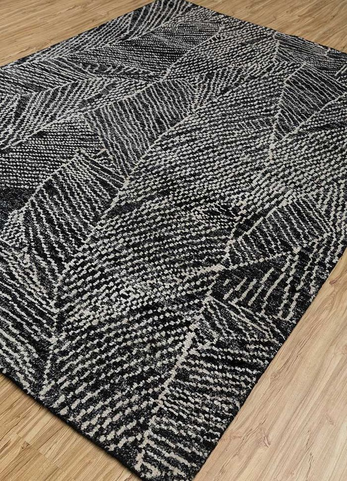 cleo grey and black bamboo silk hand knotted Rug - FloorShot