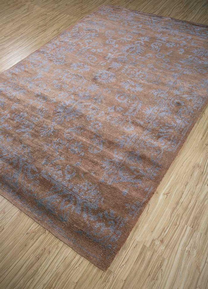 mezcla beige and brown bamboo silk hand knotted Rug - FloorShot