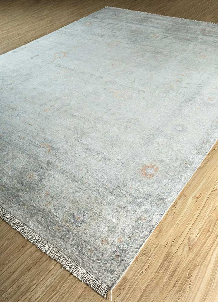 blithe beige and brown silk hand knotted Rug - FloorShot