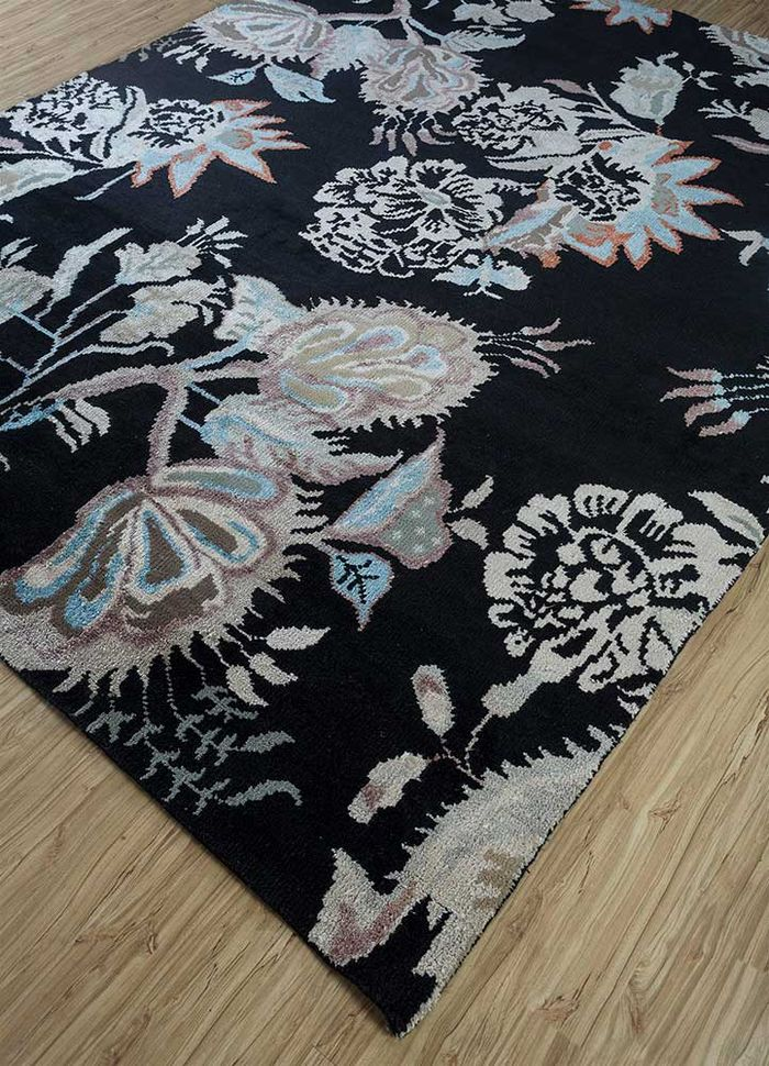 esme grey and black wool and bamboo silk hand knotted Rug - FloorShot