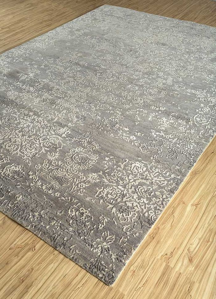 blithe grey and black wool and bamboo silk hand knotted Rug - FloorShot
