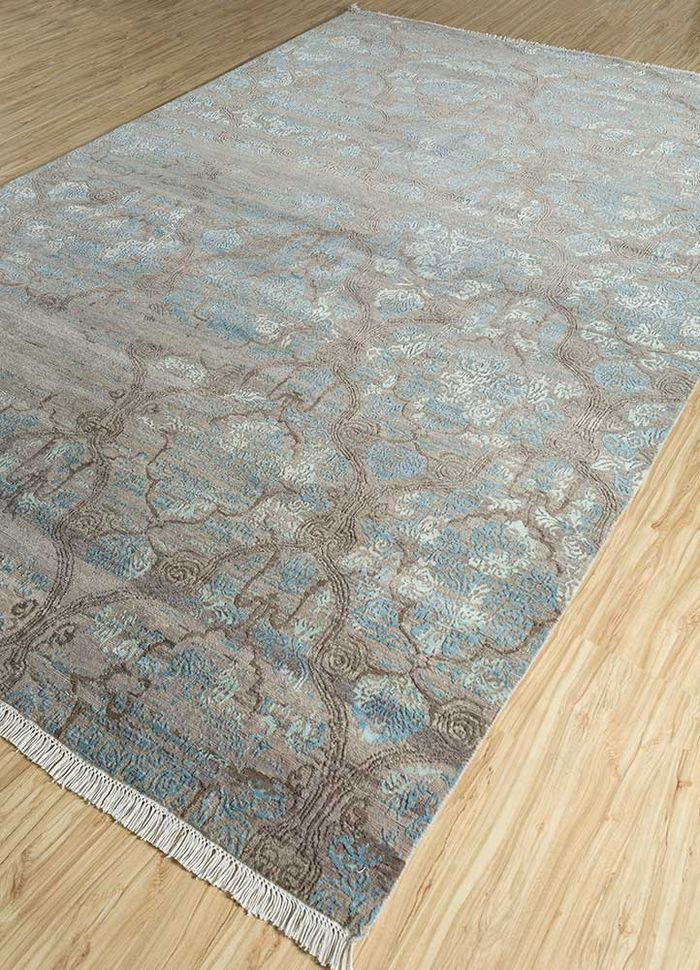 floret beige and brown wool and bamboo silk hand knotted Rug - FloorShot