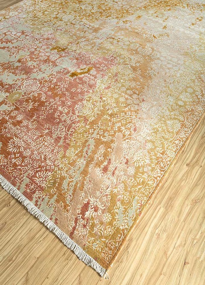 far east red and orange wool and bamboo silk hand knotted Rug - FloorShot