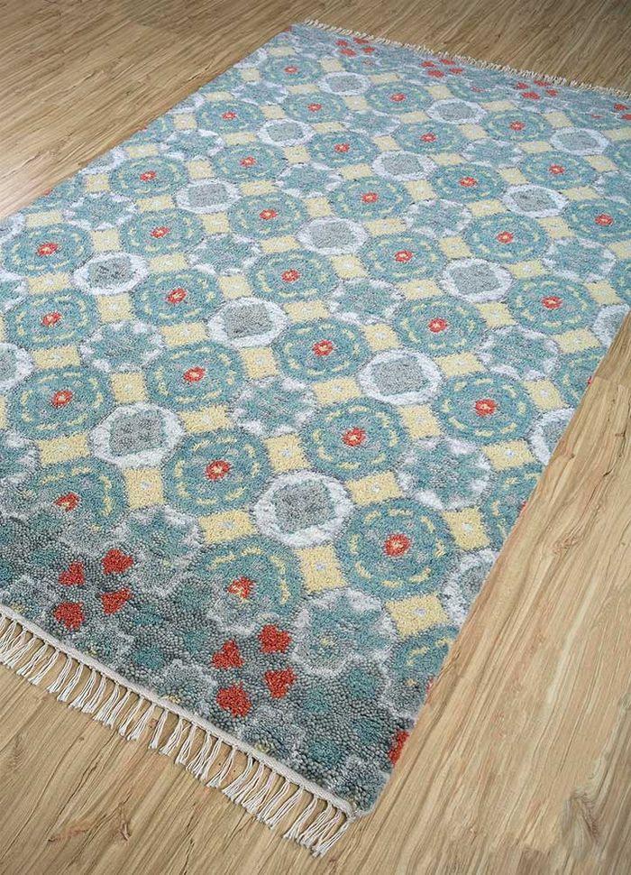 verna blue wool hand knotted Rug - FloorShot
