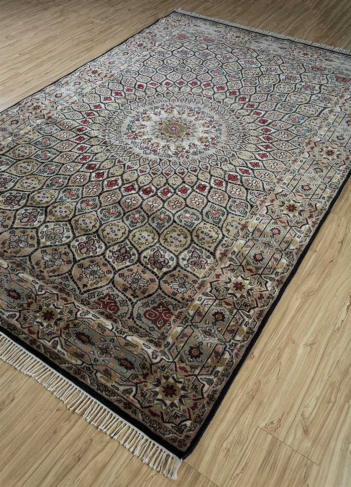 amani beige and brown wool hand knotted Rug - FloorShot