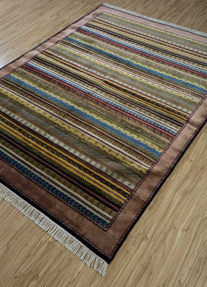 amani gold wool hand knotted Rug - FloorShot