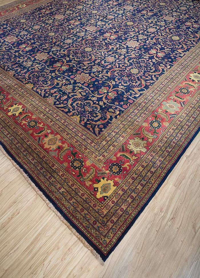 amani blue wool hand knotted Rug - FloorShot
