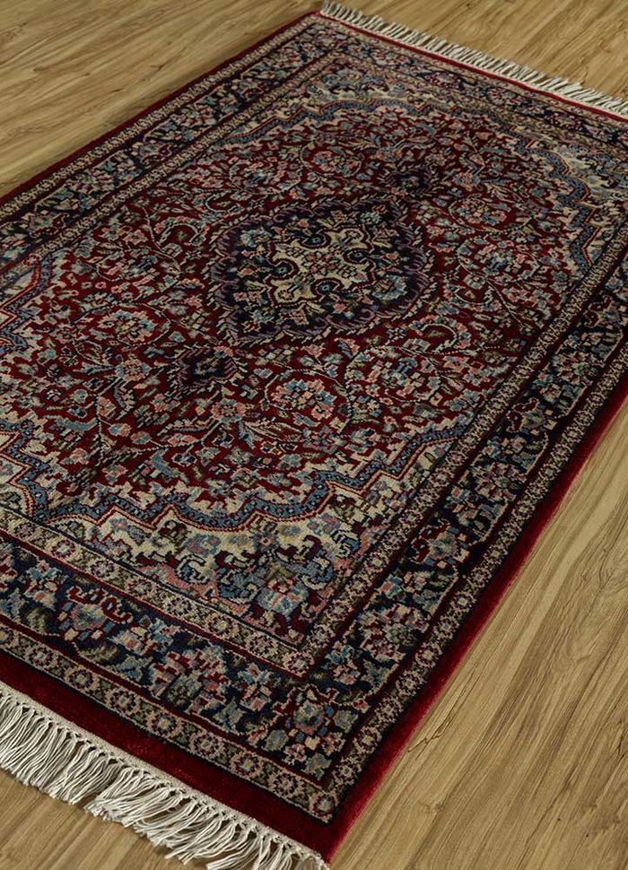 amani red and orange wool hand knotted Rug - FloorShot