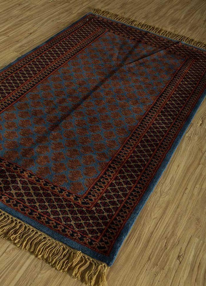 kiaan blue wool hand knotted Rug - FloorShot