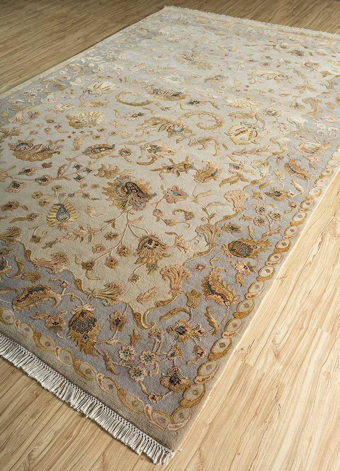 aurora beige and brown wool and silk hand knotted Rug - FloorShot