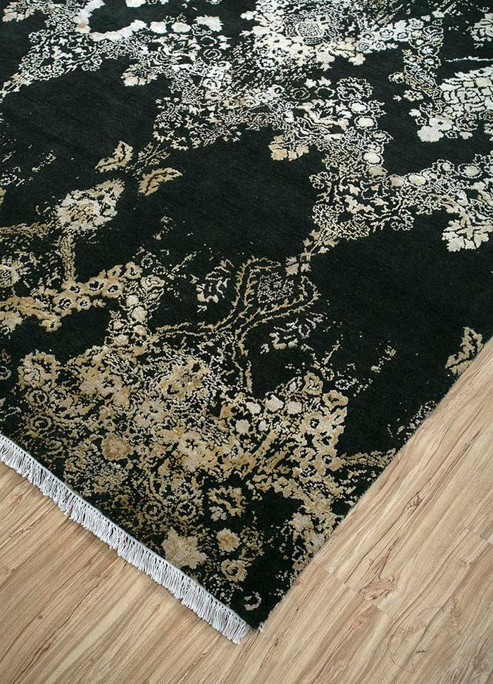 floret green wool and silk hand knotted Rug - FloorShot