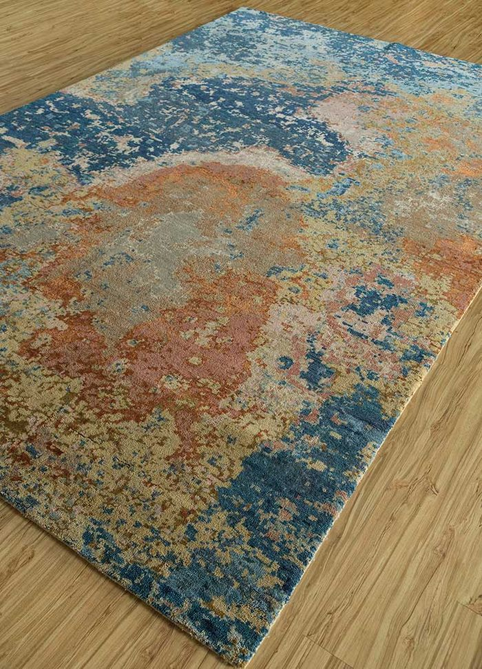 pansy gold wool and silk hand knotted Rug - FloorShot