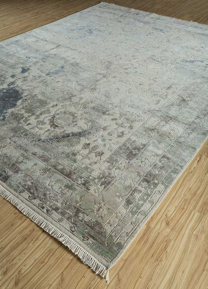 far east ivory wool and silk hand knotted Rug - FloorShot