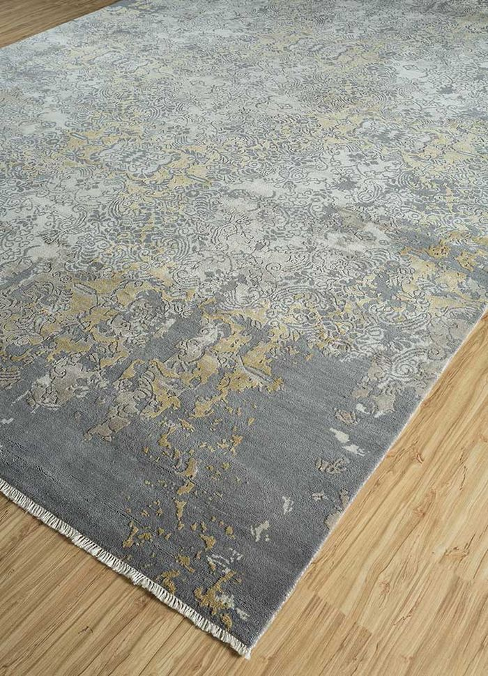 floret blue wool and silk hand knotted Rug - FloorShot