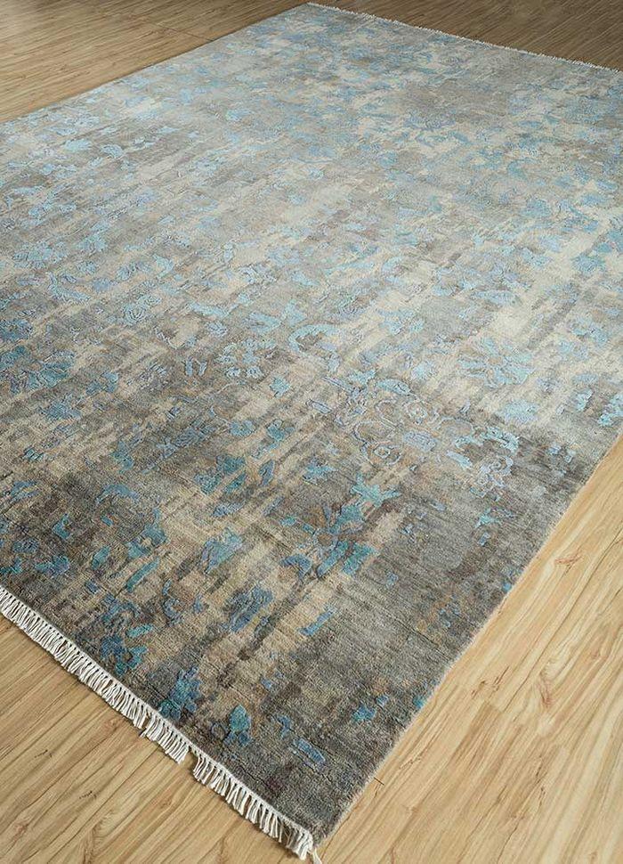 mezcla grey and black wool and viscose hand knotted Rug - FloorShot