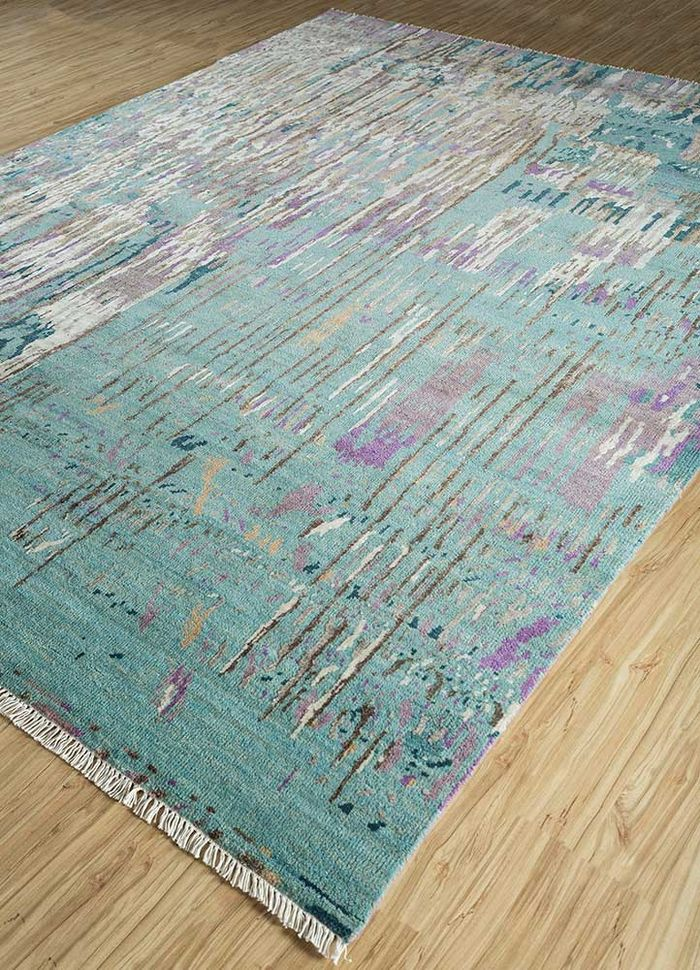 entropy green wool and viscose hand knotted Rug - FloorShot