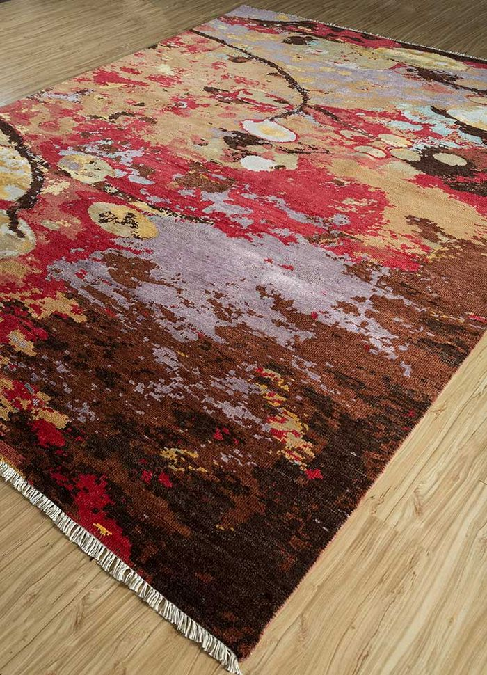 pansy red and orange wool and viscose hand knotted Rug - FloorShot