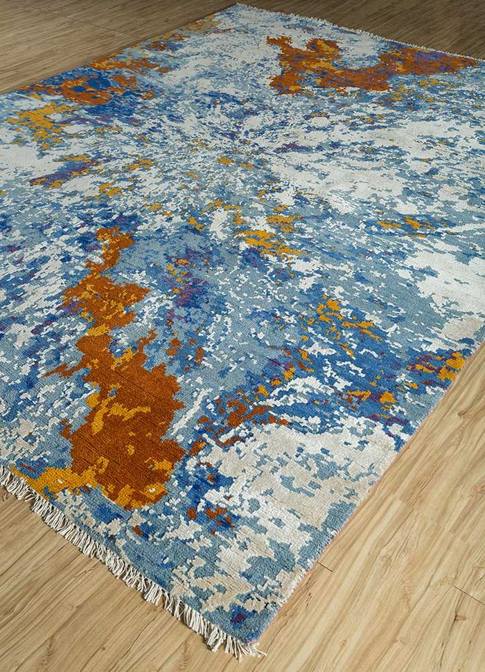 pansy blue wool and viscose hand knotted Rug - FloorShot