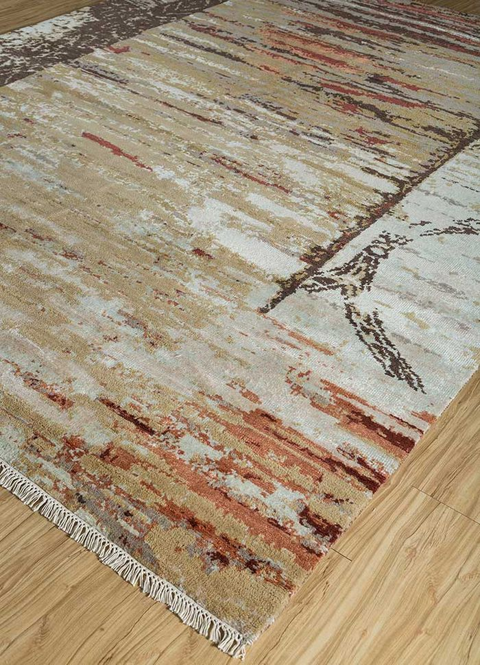 entropy gold wool and viscose hand knotted Rug - FloorShot