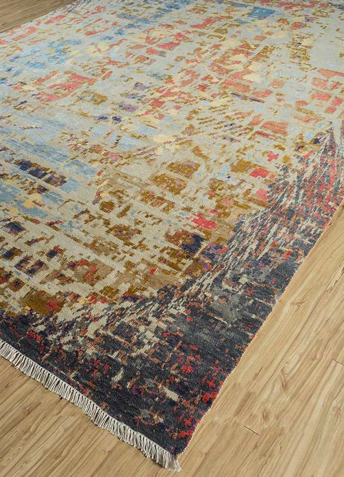 entropy grey and black wool and viscose hand knotted Rug - FloorShot