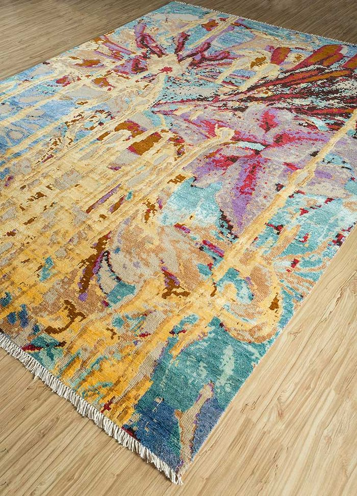 pansy gold wool and viscose hand knotted Rug - FloorShot