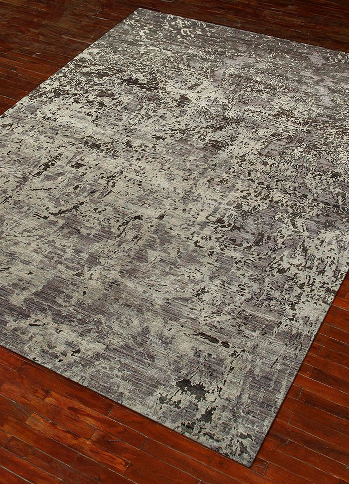 pansy grey and black wool hand knotted Rug - FloorShot