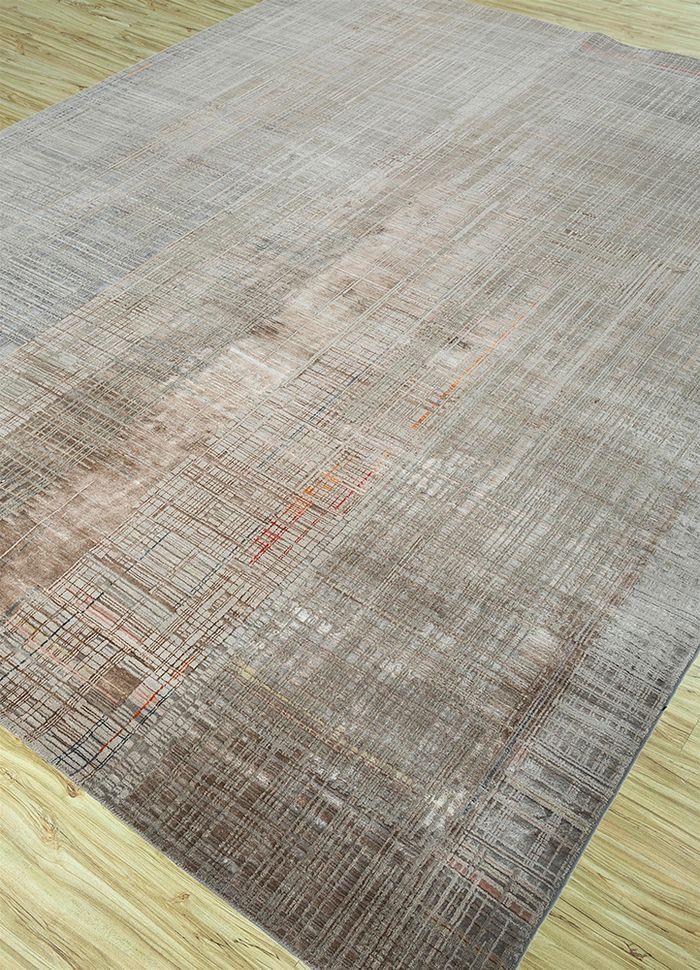unstring by kavi beige and brown wool and bamboo silk hand knotted Rug - FloorShot