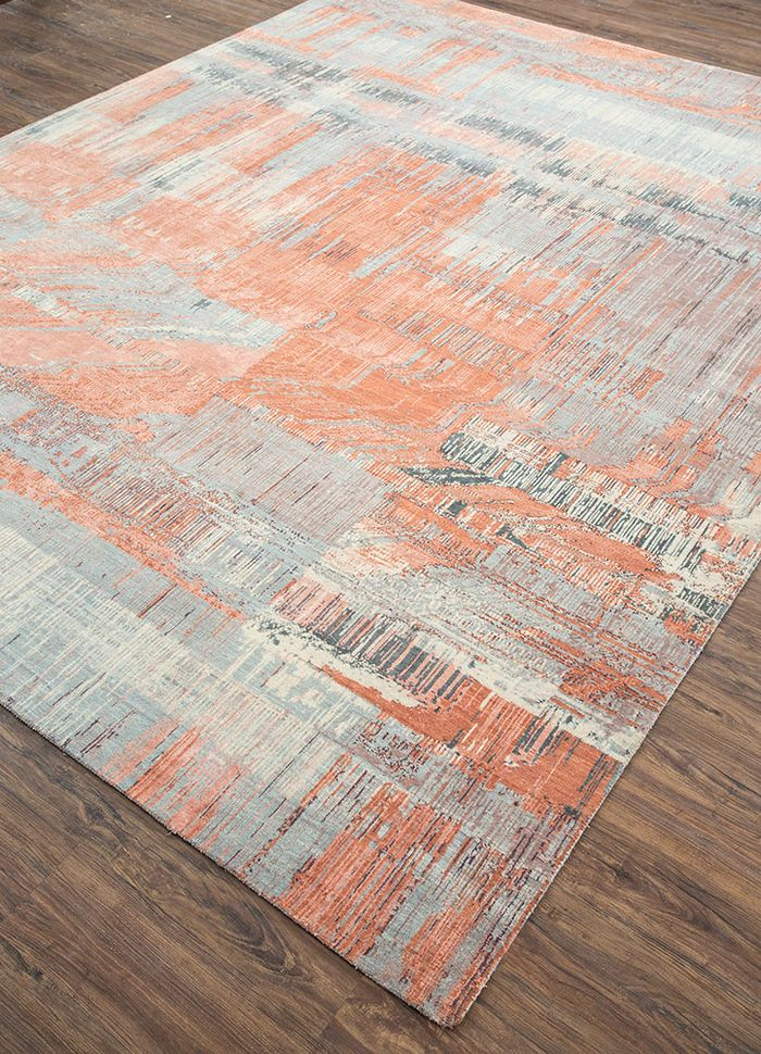 unstring by kavi red and orange wool and bamboo silk hand knotted Rug - FloorShot