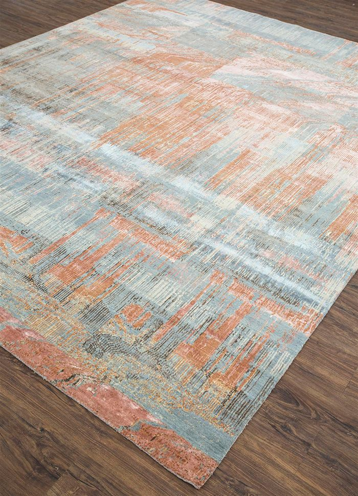 unstring by kavi blue wool and bamboo silk hand knotted Rug - FloorShot
