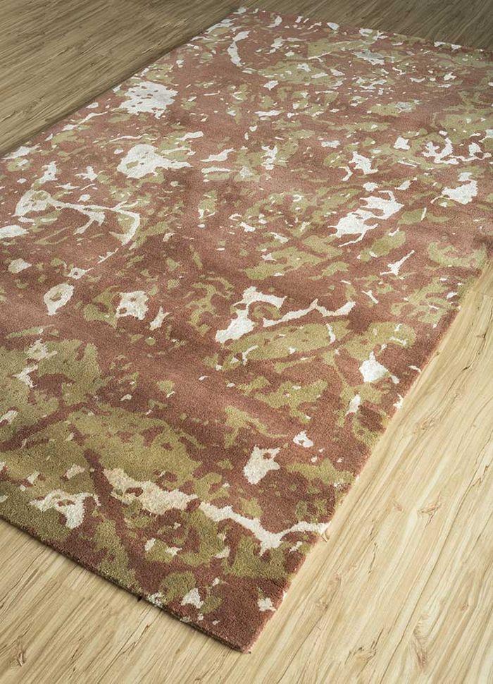 transcend red and orange wool and viscose hand tufted Rug - FloorShot