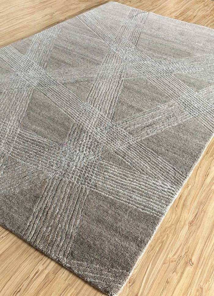 transcend beige and brown wool hand tufted Rug - FloorShot